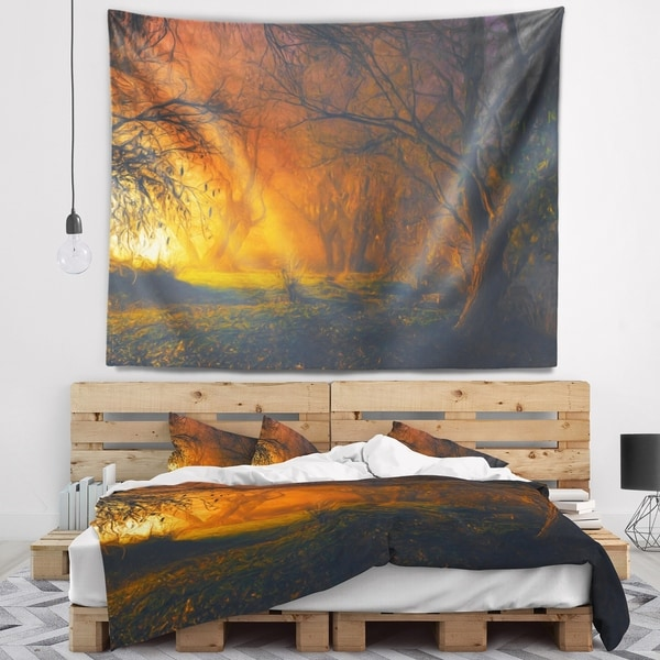 Designart 'Magical Light in Forest' Landscape Wall Tapestry