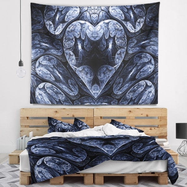 Designart 'Cold Mystical Fractal Heart' Abstract Wall Tapestry