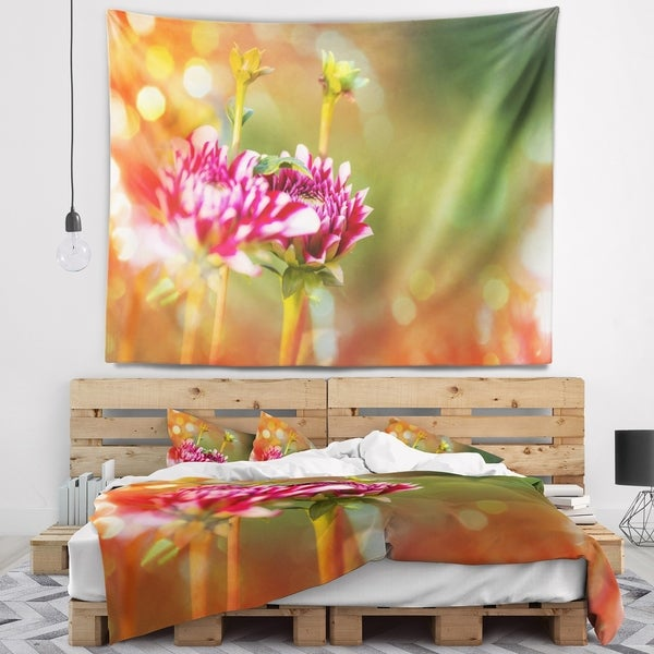 Designart 'Pink Flowers on Blurred Background' Flower Wall Tapestry