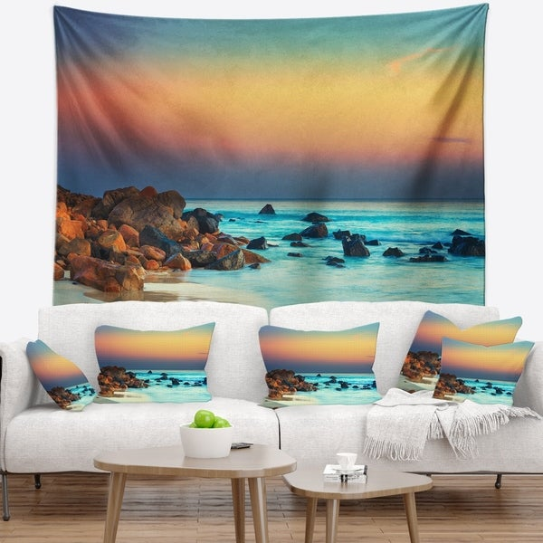 Designart 'Sunset Over Blue Sky' Seascape Photography Wall Tapestry