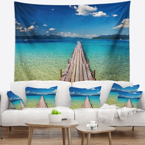 Designart 'Wooden Pier in Tropical Paradise' Seascape Wall Tapestry