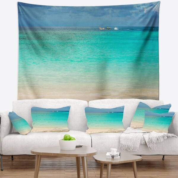 Designart 'Tropical Andaman Sea with Blue Sky' Modern Seascape Wall Tapestry