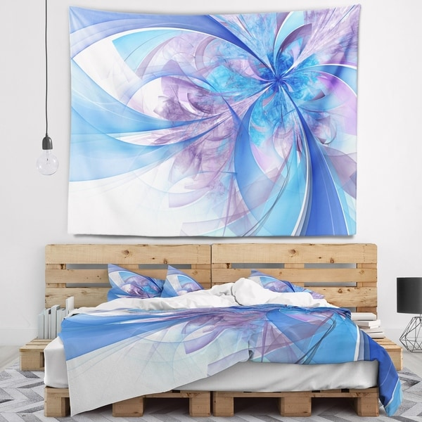 Designart 'Light Blue and Purple Fractal Flower' Floral Wall Tapestry