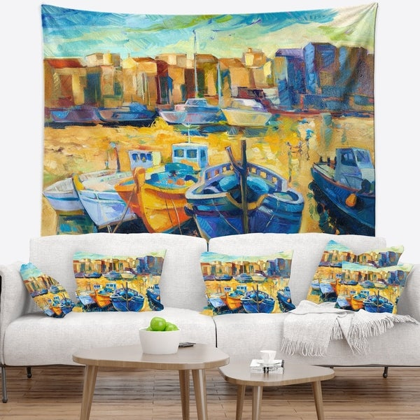 Designart 'Wharf and Boats' Seascape Wall Tapestry