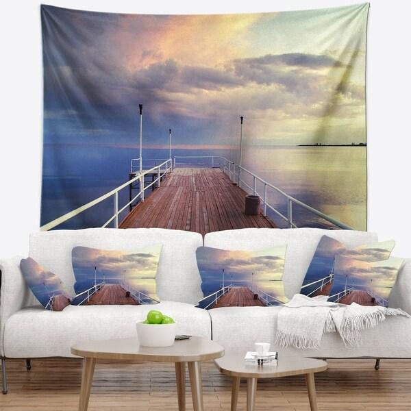 Designart 'Pier Under Bright Sky' Seascape Wall Tapestry