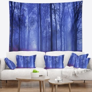 Designart 'Two Paths in Foggy Blue Forest' Landscape Wall Tapestry