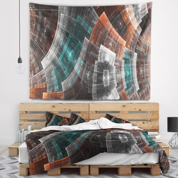 Designart 'Brown and Blue Fractal Flower Grid' Abstract Wall Tapestry