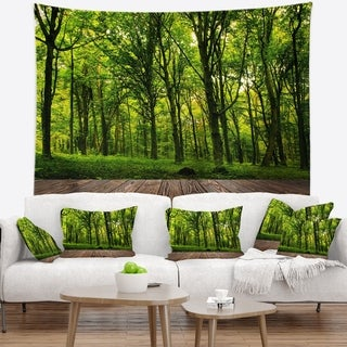 Designart 'Green Forest with Dense Woods' Landscape Wall Tapestry