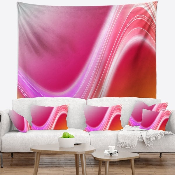 Designart 'Pink Abstract Curved Lines' Abstract Wall Tapestry