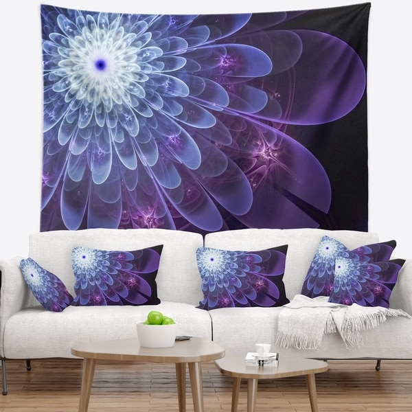 Designart 'Purple Fractal Flower Petals Close up' Floral Wall Tapestry