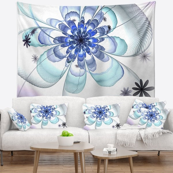 Designart 'Light Blue Large Fractal Flower' Floral Wall Tapestry