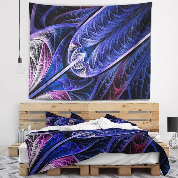 Designart 'Blue on Black Fractal Stained Glass' Abstract Wall Tapestry