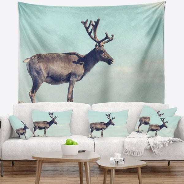 Designart 'Large Reindeer in Norway' Abstract Wall Tapestry