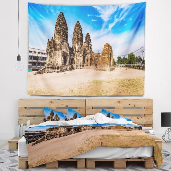 Designart 'Ancient Temple in Thailand Panorama' Modern Seascape Wall Tapestry