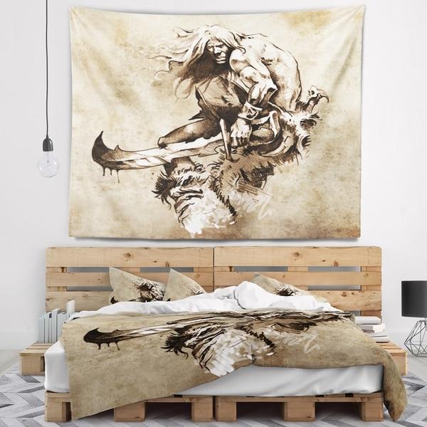 Designart 'Warrior Fighting Tattoo Art' Abstract Portrait Wall Tapestry
