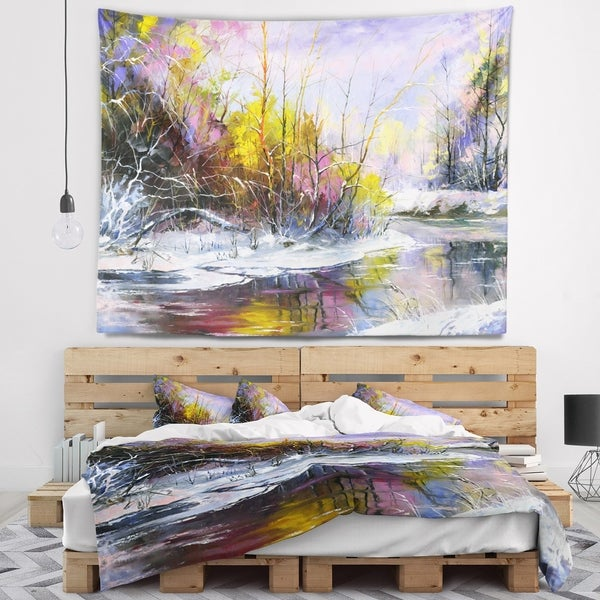 Designart 'Autumn River' Landscape Wall Tapestry