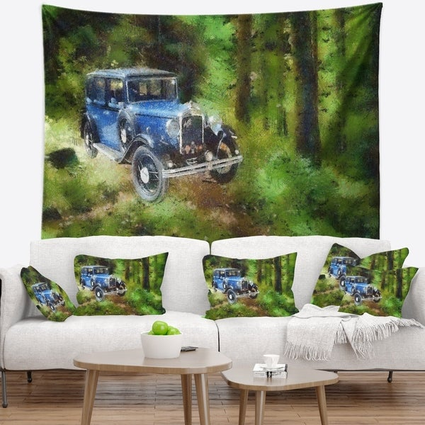 Designart 'Dark Blue Vintage Car Oil Painting' Car Wall Tapestry