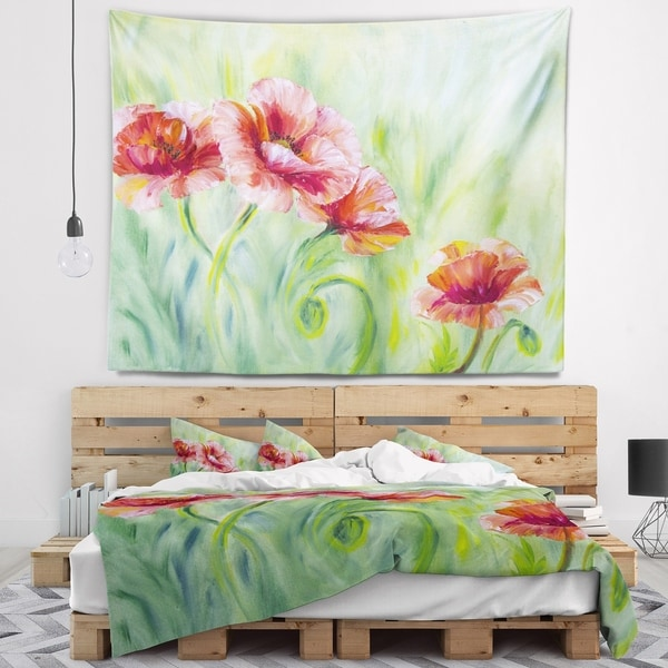 Designart 'Pale Red Poppies' Floral Wall Tapestry