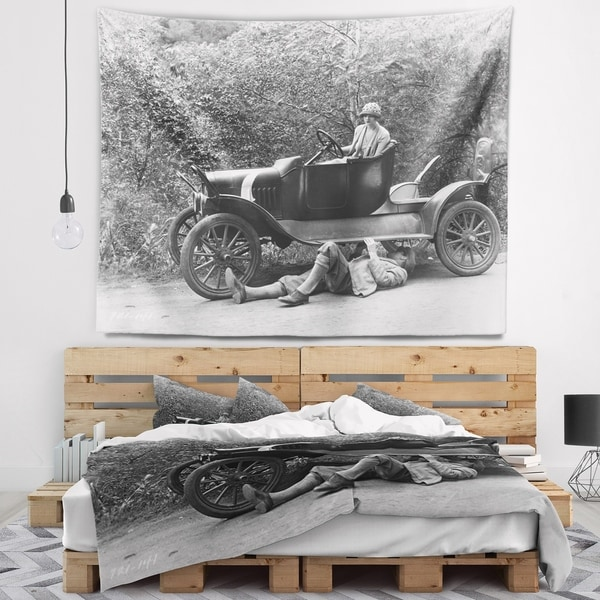 Designart 'Vintage Car Repair' Car Photography Wall Tapestry
