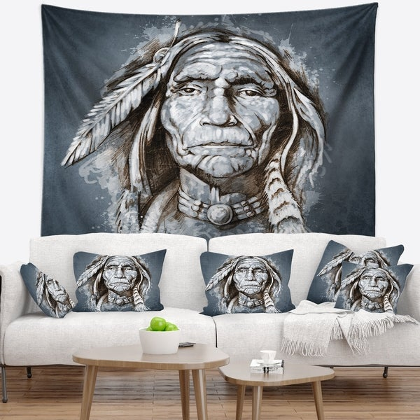 Designart 'Sketch of Tattoo American Indian' Portrait Wall Tapestry