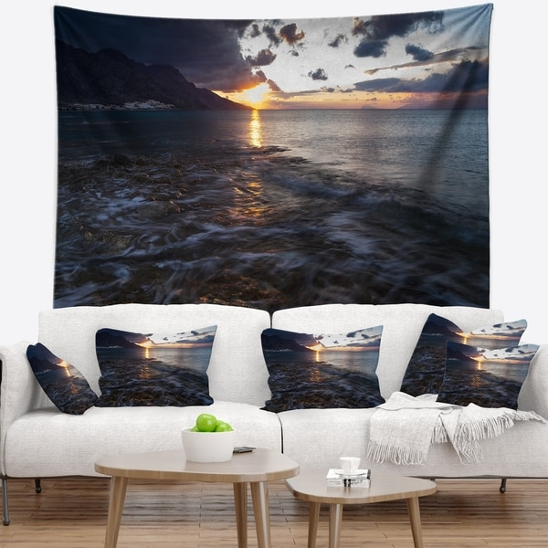 Designart 'Gloomy Sea Coast at Sunrise' Modern Seashore Wall Tapestry