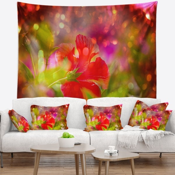 Designart 'Beautiful Red Rural Summer Flowers' Floral Wall Tapestry
