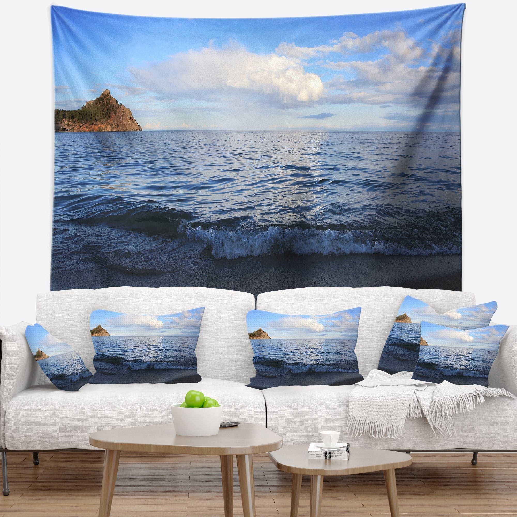 Shop Designart Wave With Whitecaps On Lake Baikal Seashore Wall Tapestry On Sale Overstock 20923159