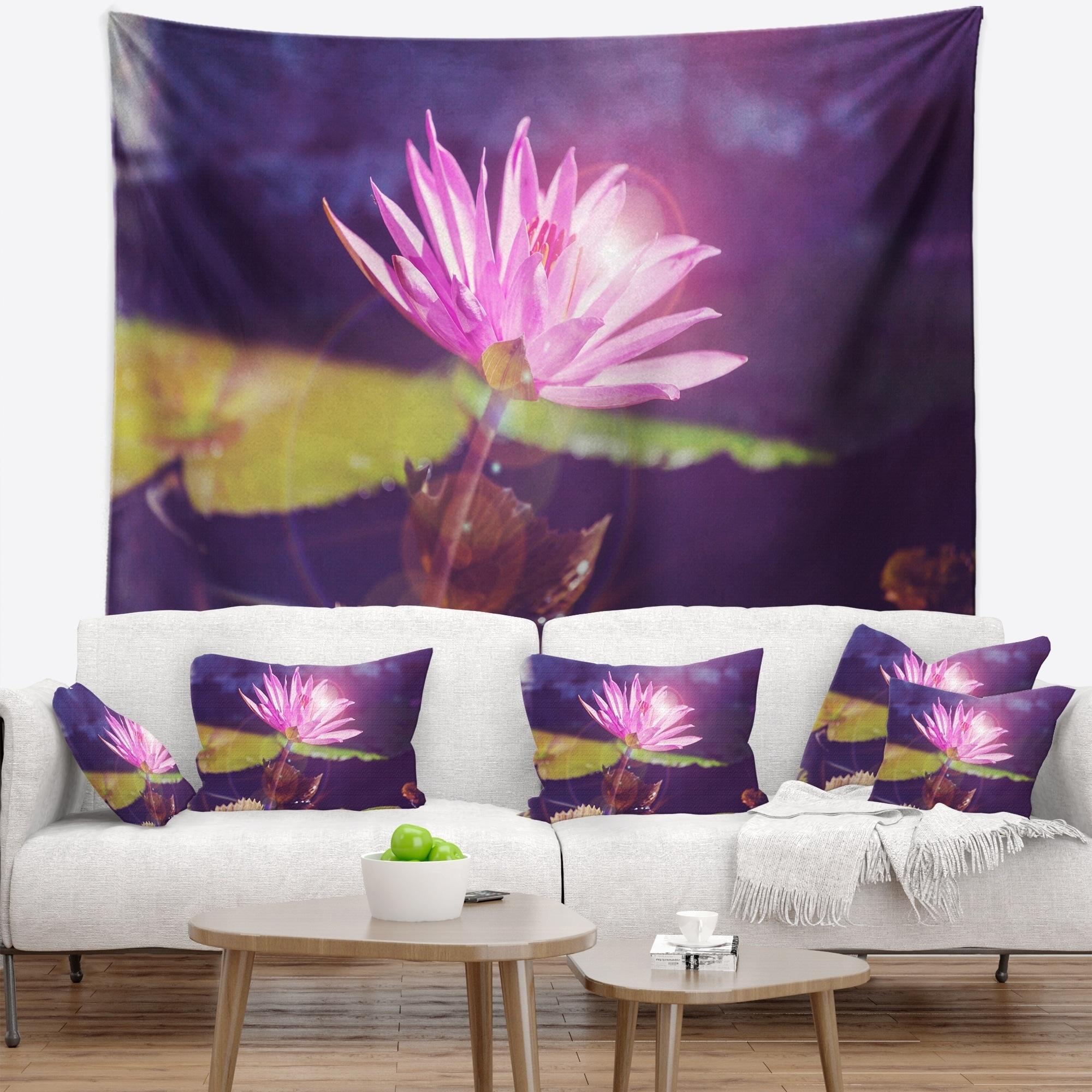 Designart Pink Lotus Flower On Blue Background Floral Wall