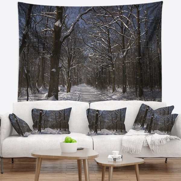 Designart 'Path on Sunny Winter Day in Park' Modern Forest Wall Tapestry