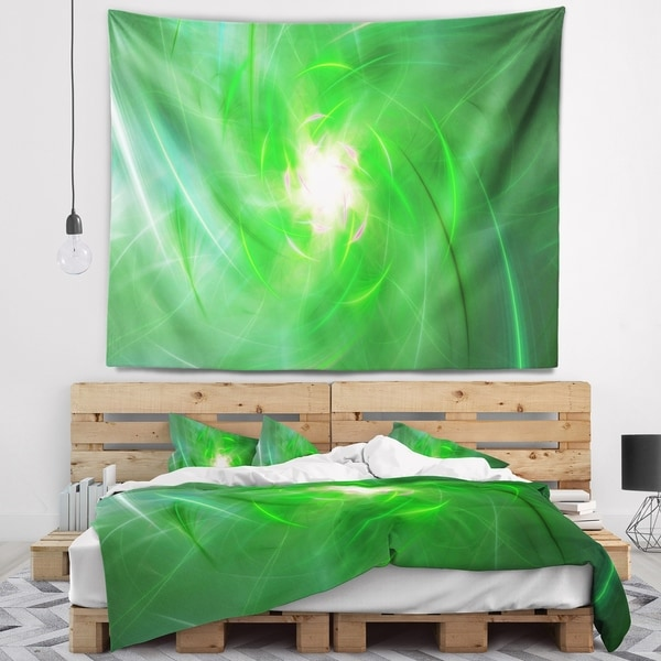 Designart 'Light Green Fractal Whirlpool' Abstract Wall Tapestry