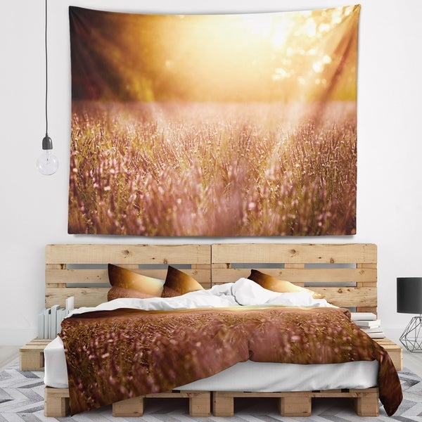 Designart 'Brown Tinged Lavender Field Sunset' Floral Wall Tapestry