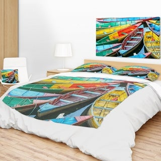 Designart 'Rowing Boats on the Lake in Pokhara' Boat Throw Blanket (2 options available)