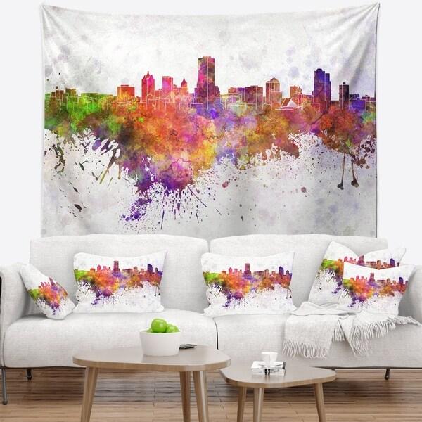 Designart 'Milwaukee Skyline' Cityscape Wall Tapestry
