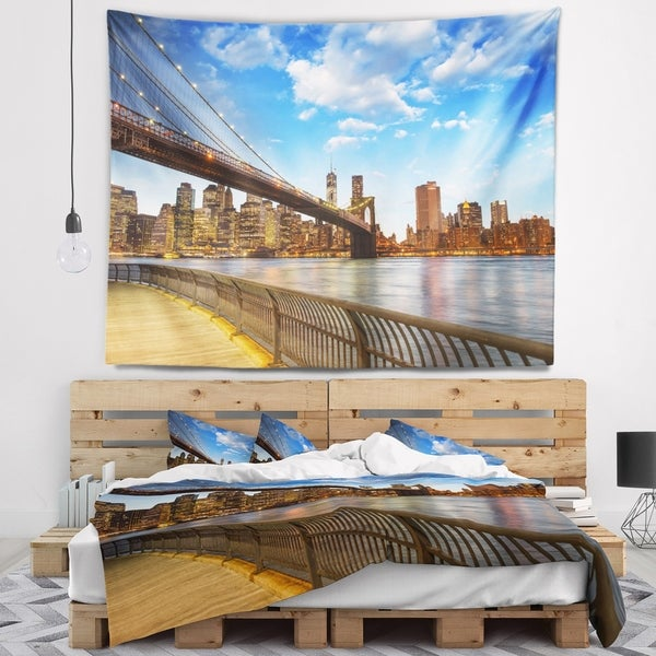 Designart 'Calm Sky Over Brooklyn Bridge' Cityscape Photo Wall Tapestry