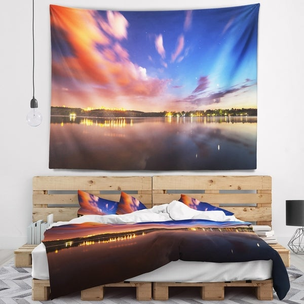 Designart 'Delighted Reflection in River' Landscape Photography Wall Tapestry