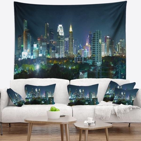 Designart 'Night City Bangkok Cityscape' Photography Wall Tapestry