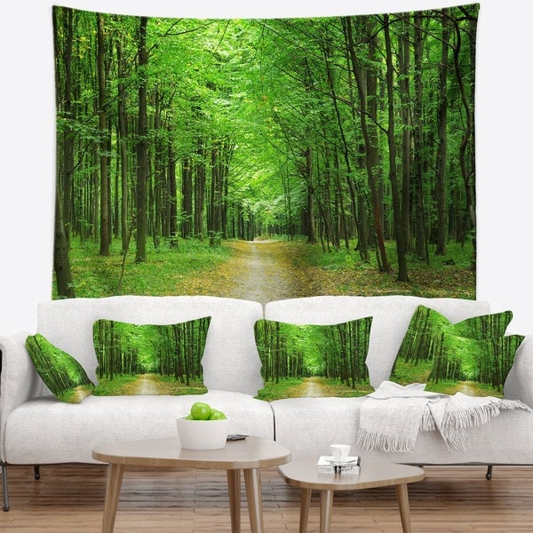 Designart 'Pathway in Green Forest' Landscape Photography Wall Tapestry