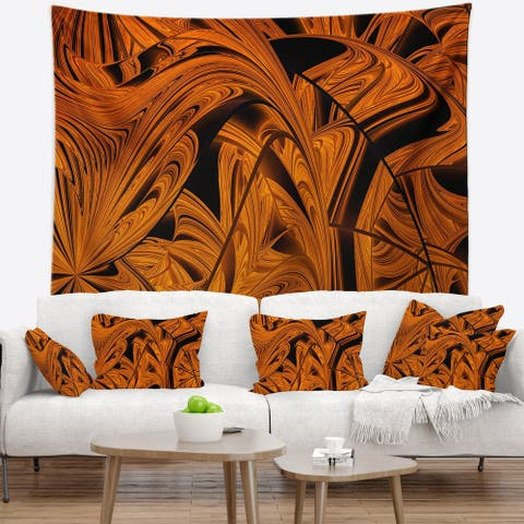 Designart 'Vibrant Brown Fractal Flower Pattern' Abstract Wall Tapestry