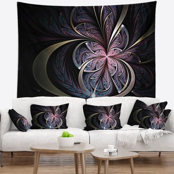 Designart 'Dark Blue Fractal Butterfly Flower' Floral Wall Tapestry
