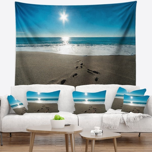 Designart 'Blue Sea and Footprints in Sand' Seascape Wall Tapestry