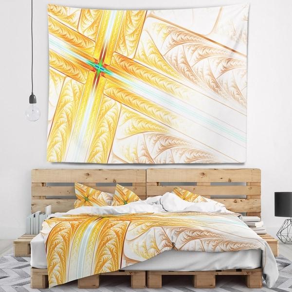 Designart 'Brown Fractal Cross Design' Abstract Wall Tapestry