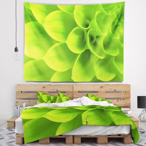 Designart 'Bright Green Flower Petals' Floral Wall Tapestry