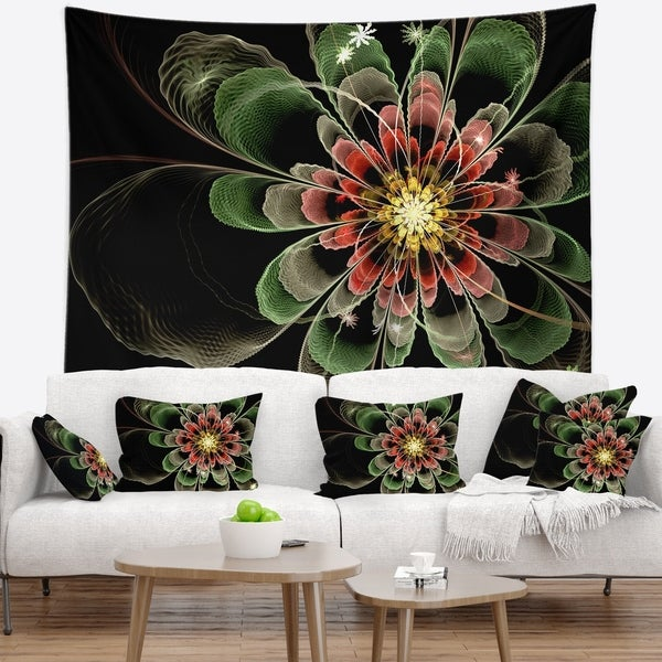 Designart 'Abstract Green Fractal Flower' Floral Wall Tapestry