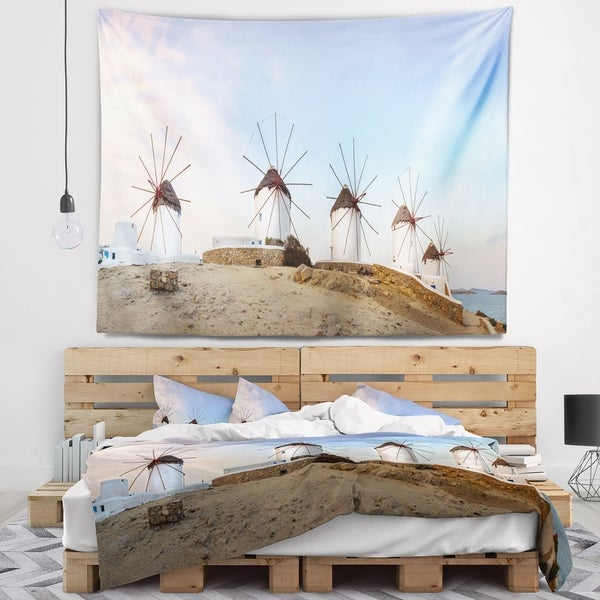 Designart 'Traditional Greek Windmills Panorama' Landscape Wall Tapestry