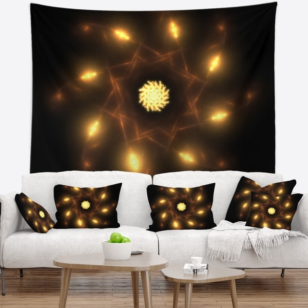 Designart 'Glowing Yellow Radial Fractal Flower Art' Floral Wall Tapestry