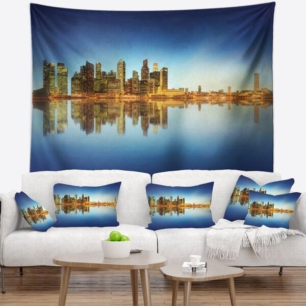 Designart 'Calm Singapore Skyline' Cityscape Photography Wall Tapestry
