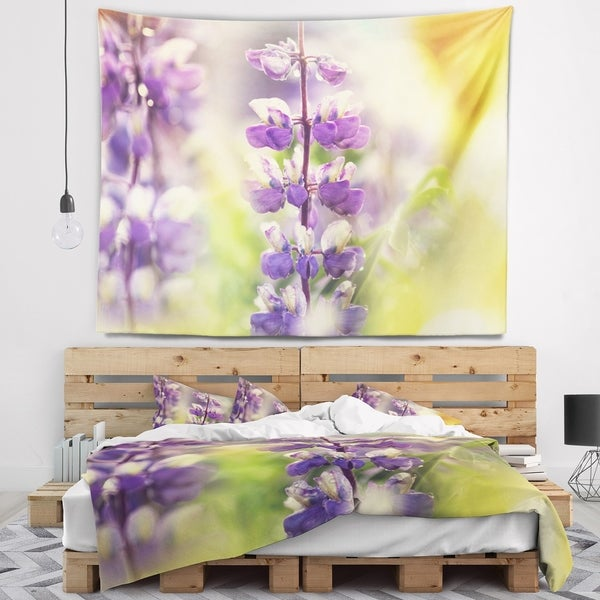 Designart 'Beautiful Close Up of Blue Lupin Flowers' Flower Wall Tapestry