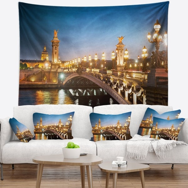 Designart 'Pont Alexandre III Bridge' Cityscape Photo Wall Tapestry