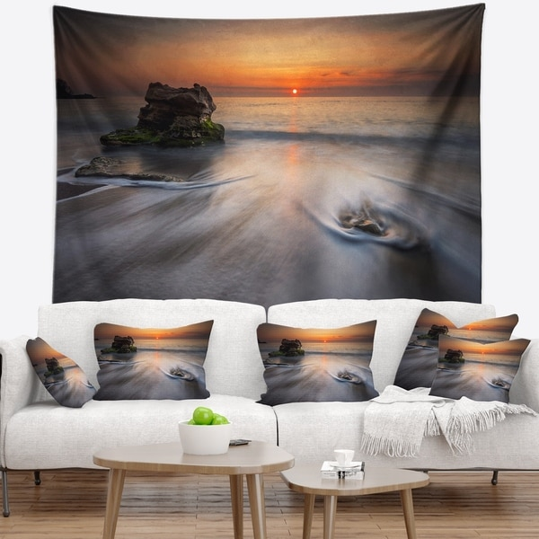 Designart 'Stormy Sea with Rushing White Waves' Beach Photo Wall Tapestry