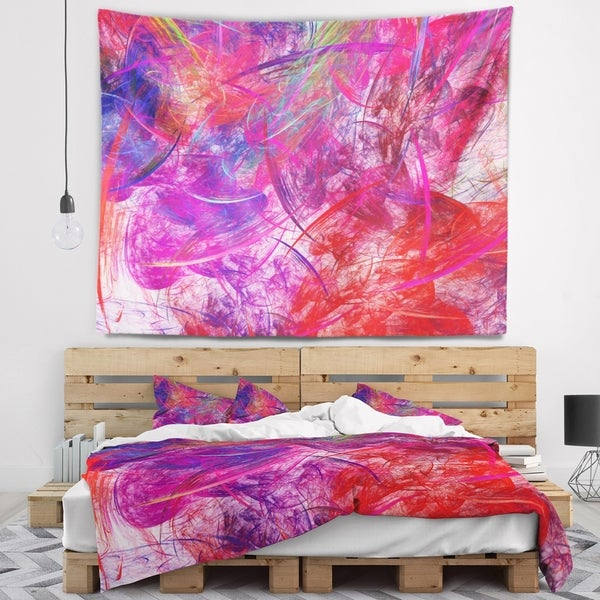 Designart 'Red Swirling Clouds' Abstract Wall Tapestry